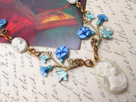 Wedding - Bridal necklace cameo necklace Vintage necklace womens necklaces morning glories jewelry brass with enamel painting Art Nouveau