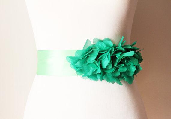 Hochzeit - Bridal Couture - Green Chiffon Flowers Ribbon Sash Belt - Wedding Dress Sashes Belts - Forest Green