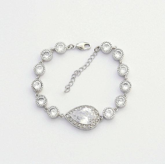 Mariage - Bridal Bracelet Wedding Jewelry Clear Cubic Zirconia Teardrop Bracelet Silver