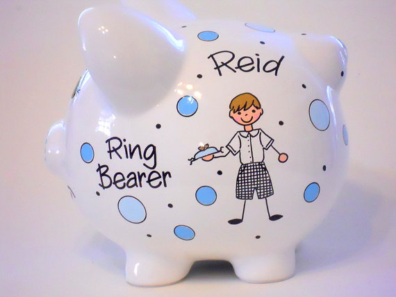 Mariage - Ring Bearer Gift for Wedding Piggy Bank Personalized