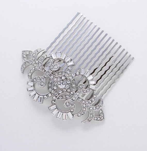 Boda - Art Deco Hair Comb Crystal Wedding Comb for Bride Hair Accessories Gatsby Old Hollywood Hair Combs Wedding Jewelry Art Deco Bridal Accessory