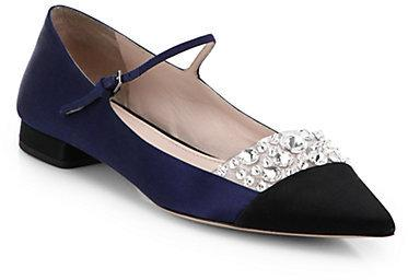 Hochzeit - Miu Miu Jeweled Satin Point Toe Mary Jane Flats