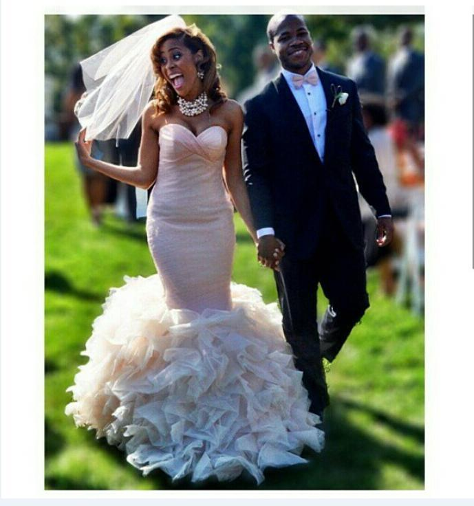 زفاف - Blush Pink Plus Size Wedding Dresses Mermaid 2015 Real Image Organza Cascading Ruffle Tiers Bridal Dresses Sweetheart Cheap Gowns Custom Online with $132.62/Piece on Hjklp88's Store