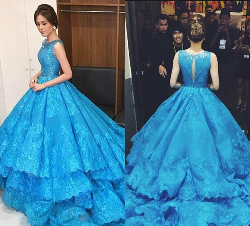 Luxury Michael Cinco Royal Blue Vintage Ball Gowns Wedding Dresses