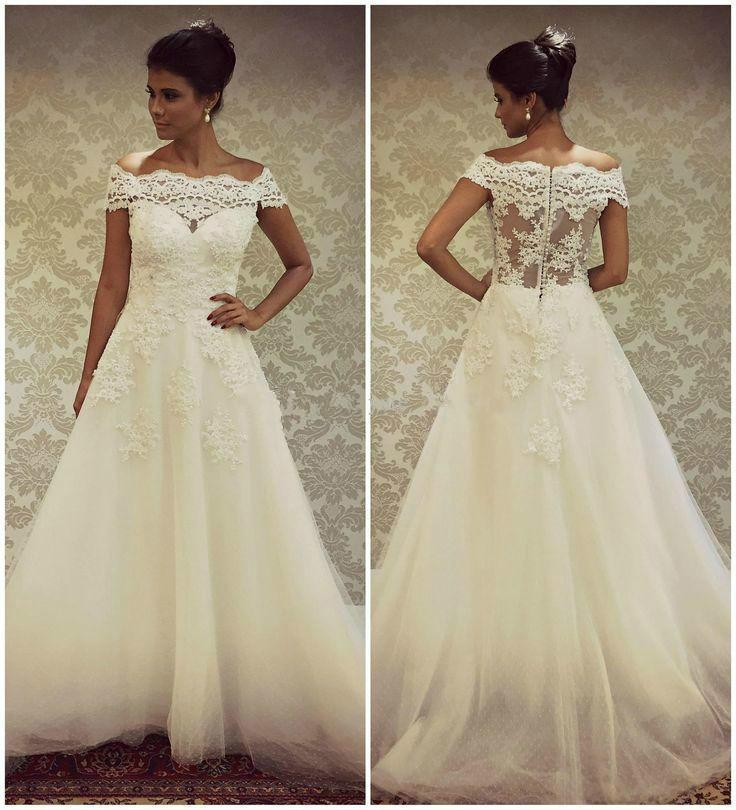 Ball Gown Wedding Dresses With Short Sleeves : Real image wedding dresses with bateau neck lace