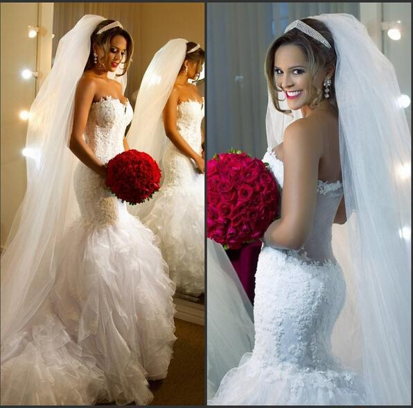 Hochzeit - Exquisite Mermaid Lace Wedding Dresses 2015 Vestidos De Novia Beaded Organza Appliques Tulle Ruffle Tiers Plus Size Bridal Gowns Party Online with $140.63/Piece on Hjklp88's Store