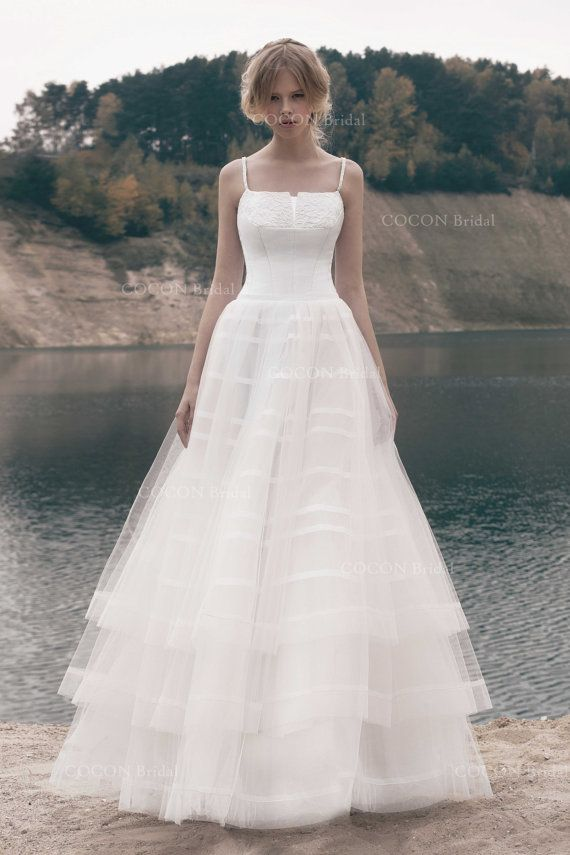 Wedding dress designer wedding dress gown delicate layered for Tulle layered wedding dress