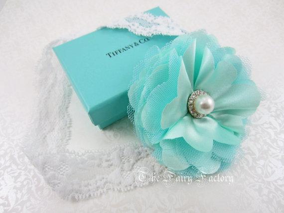 Hochzeit - Aqua / Tiffany Blue Satin & Tulle Flower Puff w/ Pearl Stretchy Lace Headband or Hair Clip, Wedding, Baby Toddler Child Girls Headband