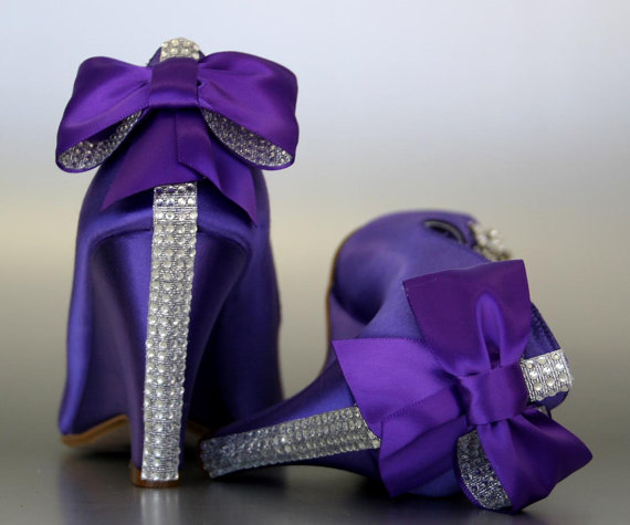 Mariage - Wedding Shoes -- Purple Peeptoe Wedges with Silver Rhinestones Strip on Heel and Matching Bow