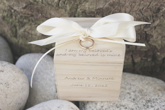 Mariage - Ring Pillow Alternative -- Ring Bearer Block, I am my beloved's, personalized with names on front, a featured piece from Naturally Aspen