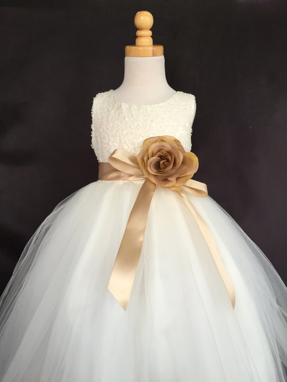 Wedding - Ivory Wedding Bridal Bridesmaids Sequence Tulle Flower Girl dress Toddler 9 12 18 24 Months 2 4 6 8 10 12 14 Sash Color 24