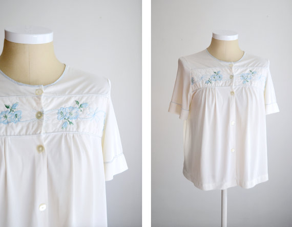 Свадьба - 1960s White Embroidered Bed Jacket - M