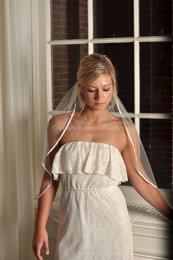Свадьба - Veils - Cascade Ribbon Veil, Satin Ribbon Bridal Veil - White, Diamond White, Light Ivory, or Ivory