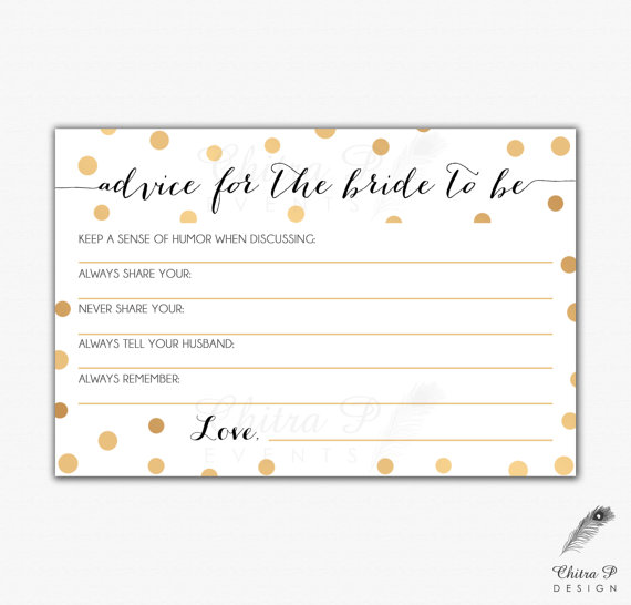 hochzeit gold black bridal advice card printed or printable