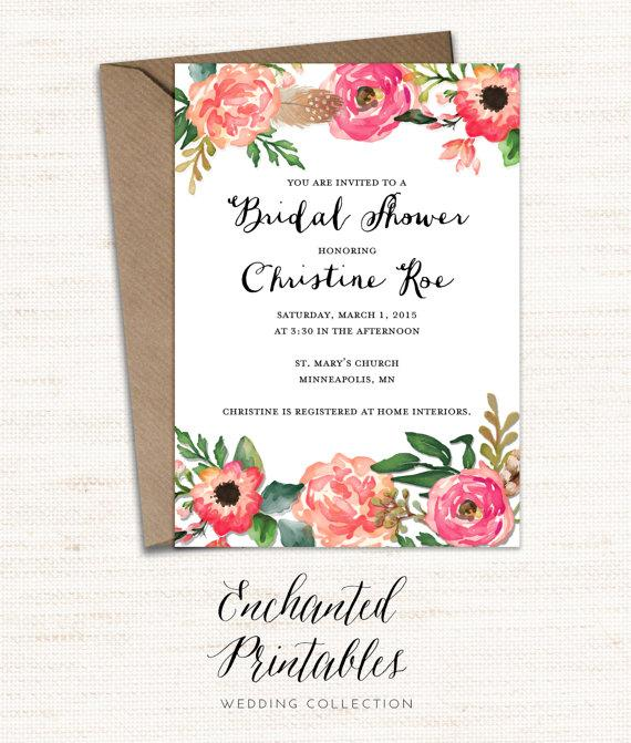 Nice Printable Bridal Shower Invitation, Printable Rustic Bridal Shower Invite,  Vintage Floral Invitation, Watercolor Floral Invitation, Wedding