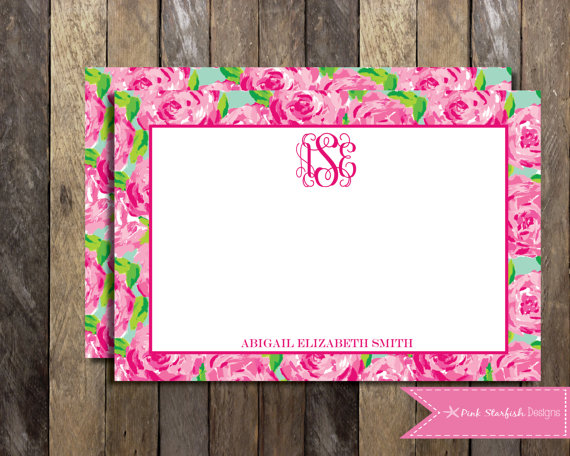 PRINTABLE Lilly Pulitzer Note Cards Thank You Card 2 Sided