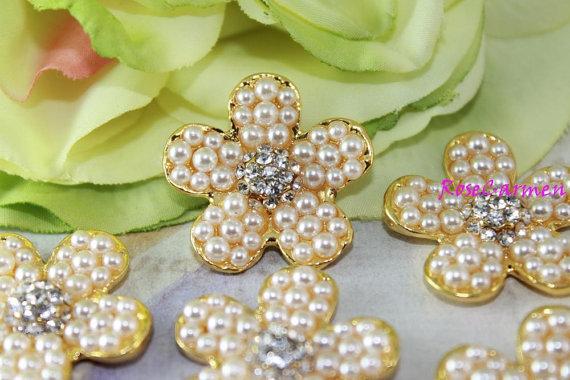 زفاف - 5 pcs Rhinestone Buttons - Pearl Buttons -Rhinestone Pearl - Wedding Buttons - Glass Buttons - Bridal Bouquet - 6.75