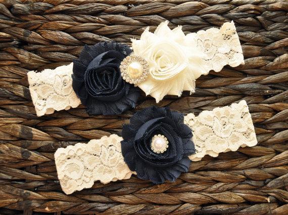 Hochzeit - Wedding Garter, Bridal Garter Set, Navy Blue Wedding Garter Set, Navy Blue Bridal Garter, Ivory Lace Garter, Navy Wedding Garter Belt