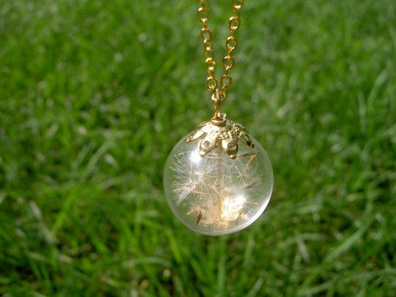 زفاف - Dandelion necklace in gold   Seeds jewelry  Botanical globe beadwork  Wishing Make a wish  Nature Real Dry flowers Weddings Bridesmaids gift