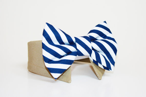 Свадьба - Dog Bow Tie- Shirt and Bow Tie Collar-  Wedding Dog Tie- Navy Stripes