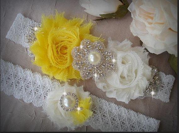 Hochzeit - SALE / Wedding Garter Set, Ivory Stretch Lace Garter, Rhinestone garter,Vintage Inspired Garter Set, Yellow Garter Set