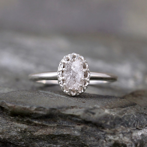 Mariage - Raw Diamond Ring - Crown Style Setting - Sterling Silver - Rough Uncut Conflict Free Diamond - Engagement Rings - April Birthstone Ring