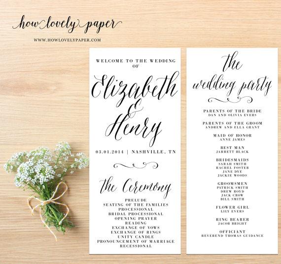 Mariage - Printable Wedding Program - the Layla Collection