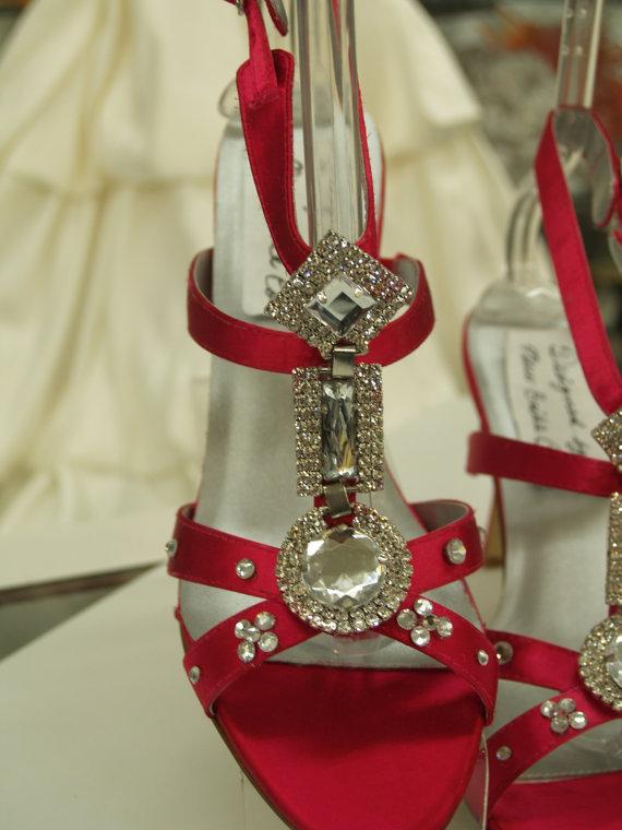 Mariage - SAMPLE SALE Wedding Shoes Fuchsia Silver Jewels 3'' heels US Size 8