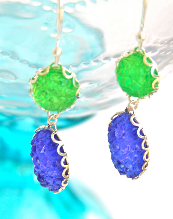 Mariage - Lime Green and Bright Blue Statement Earrings - Oval Bumpy Silver Scalloped Rhinestone Drop Dangle Earrings - Wedding, Christmas, Bridesmaid