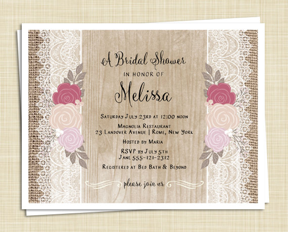 Hochzeit - 20 Shabby Chic Bridal Shower Invitations - Roses and Lace - Rustic Invitation - Cottage Chic - PRINTED