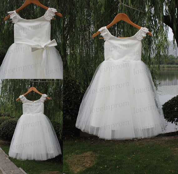 Mariage - White/Ivory bridesmaid dress,flower girls dress,handmade short wedding party dress