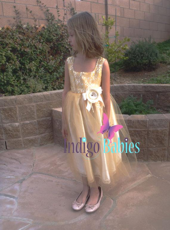 Wedding - Dress, Flower Girl Dress, Antique Gold Tulle, Gold Lace, Off White Satin, Ivory Fabric Flower, Portrait Dress, Wedding Flower Girl Dress