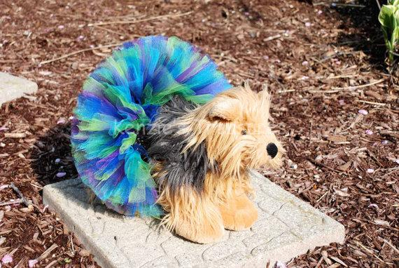 زفاف - Triple Layer Peacock Dog Tutu - Fits Dogs 13 To 23 Inches Around