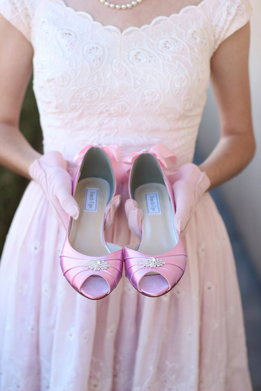 Mariage - Wedding Shoes - Blush - Crystals - Bows On Heels - Short Heels - Wide Sizes - Over 100 Color Choices - Shoes - Peep Toe - Pink - Parisxox