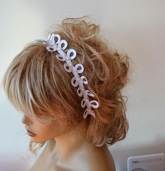 Hochzeit - Lace  Wedding Headband, Pearl  Lace Bridal  Headband,  Bridal Hair Accessories,  Wedding Hair Accessories