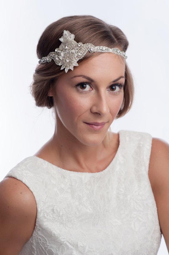 زفاف - wedding headpiece, bridal headband, 20's rhinestones bridal headpiece, flapper headband, wedding headband MANO