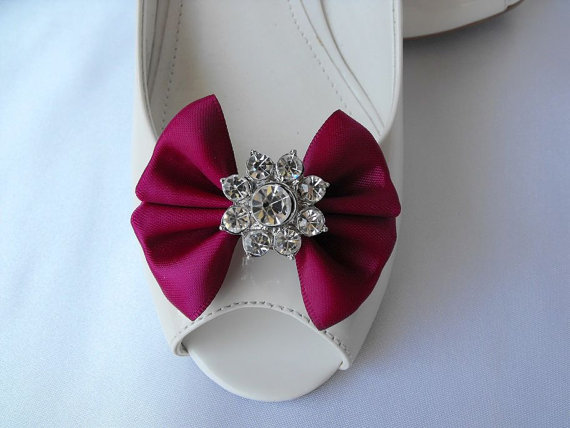 Wedding - Handmade bow shoe clips with rhinestone center bridal shoe clips wedding accessories in wine (burgundy)