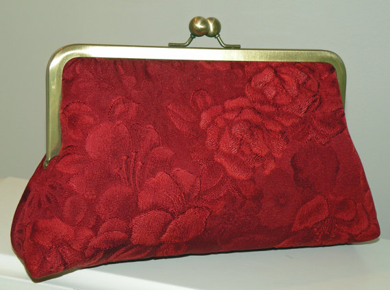 Wedding - Silk Kimono Fabric Purse/Clutch/Bag..Bridal/Bridesmaid Gift..Red Wine..Roses/Peony/Florals/Long Island Bride/Wedding/Garden Party/Scarf/Wrap