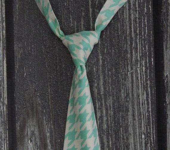 Hochzeit - Little Boy Tie - Infant/Toddler/Child - Vintage Modern in Aqua/Mint