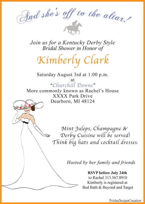 CUSTOM Kentucky Derby Bridal Shower Invitation EACH 2297308