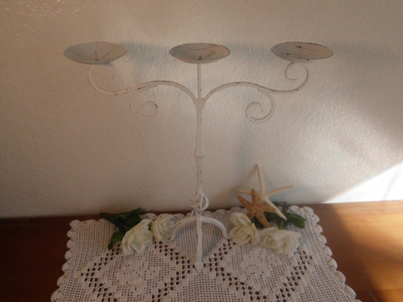 Hochzeit - Wedding Unity Candle Holder White Shabby Chic Large Tall Rustic Candelabra Ornate Scrolled Spring Summer Fall Autumn Winter Decoration