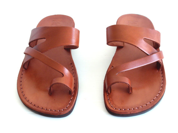 Wedding - SALE ! Handmade Leather Sandals JERICHO Women & Men Shoes Thongs Flip Flops Flat Slides Slippers Biblical Wedding Colored Footwear Designer