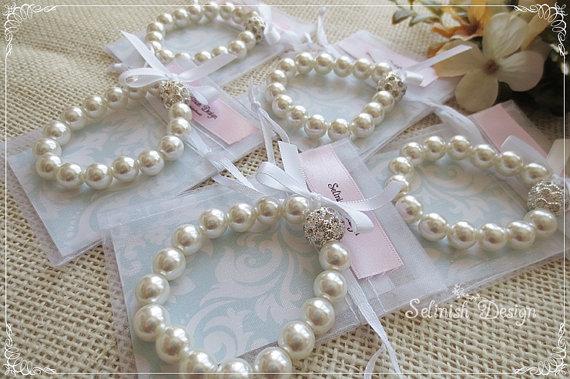Wedding - Flowergirl Bracelet Set, Bow Bracelets of 4, Flower Girl Gifts, Wedding Flower Girl Gift, Jewelry Set-JB155set