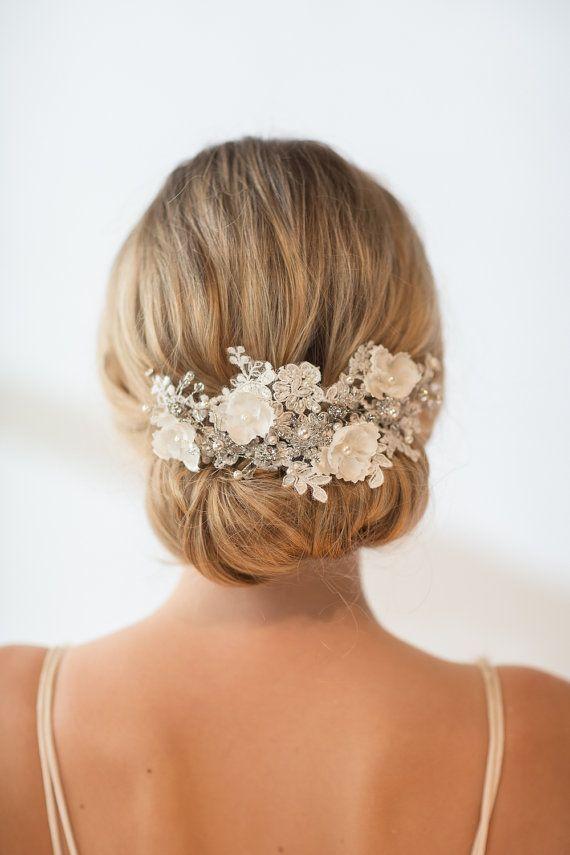 Wedding Lace Head Piece Pearl Beaded Lace Headband Wedding Headpiece Wedding Hair Accessory Ribbon Bridal Headband