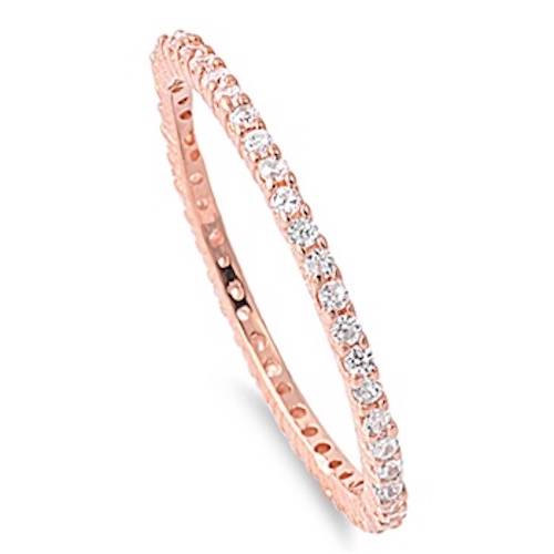 زفاف - 2MM Stackable Band Rhodium Rose Gold 925 Sterling Silver Russian Diamonds CZ Channel Setting Wedding Engagement Anniversary Ring Size 8