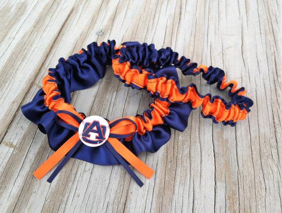 Wedding - Auburn Inspired Navy Blue & Orange Bridal Satin Wedding Keepsake Or Garter SET Tigers
