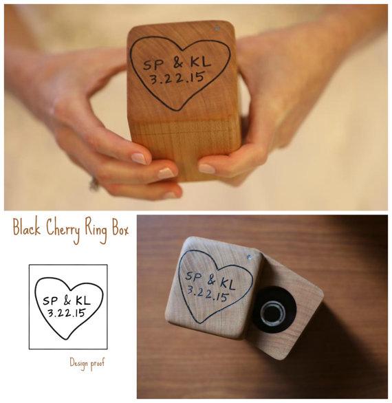 Свадьба - Wedding Ring Box- Personalized Ring Box- Rustic Wedding Wood Ring Bearer - Hand Engraved- Custom design of your choice