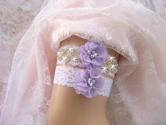 Hochzeit - Bridal Garter, Wedding Garter Set, Lavender Garter Prom Garter, Toss Garter included Ivory with Rhinestones and Pearls Custom Wedding colors