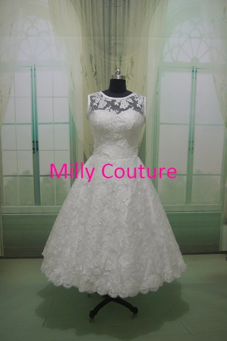 Audrey vintage style lace short bridal gown vintage for 50s inspired wedding dress