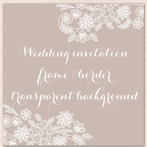 Wedding Invitation Border Frame Lace Clipart White Shabby Chic Vintage